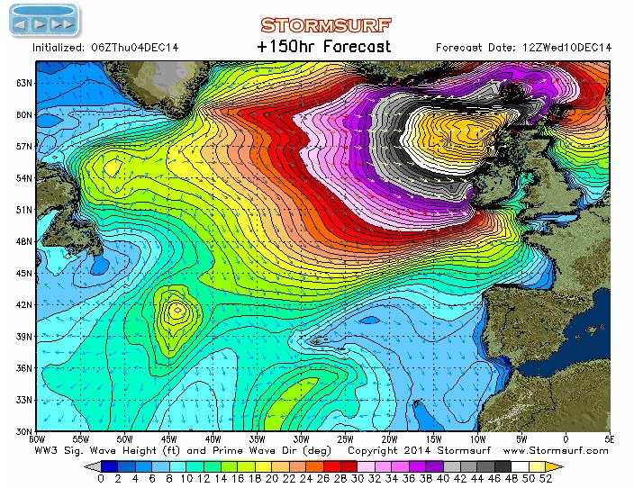 Prognostizierte Wellenhöhe für Mi., 10.12.2014 im Nordatlantik. Umrechnung Fuss x 0.3 = Meter, die gelbe Fläche bedeutet somit Wellenhöhen über 16 m