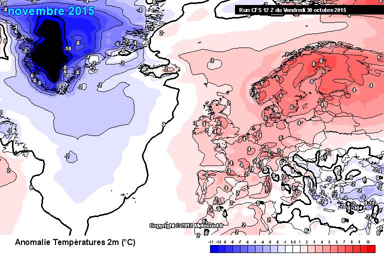 Prognostizierte Abweichung der Monatsmitteltemperatur vom Klimamittel 1981-2010
