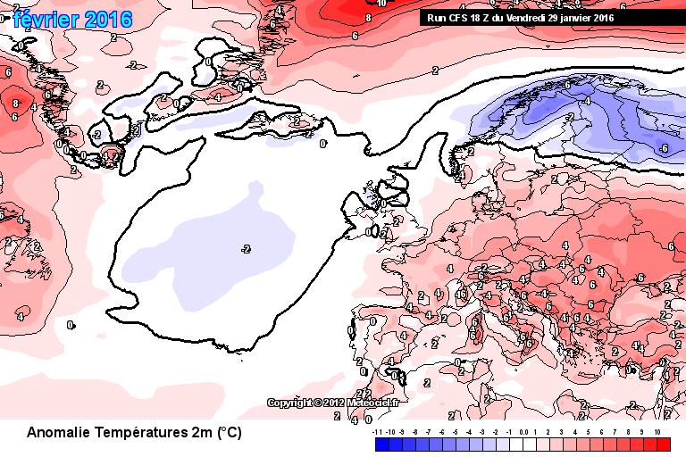 Prognostizierte Abweichung der Monatsmitteltemperatur von der Klimanorm 1981-2010
