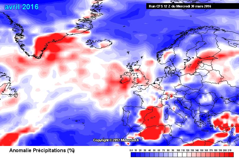 Prognostizierte Abweichung des Monatsniederschlags gegenüber der Klimanorm 1981-2010 (rot = nasser, blau = trockener als normal)