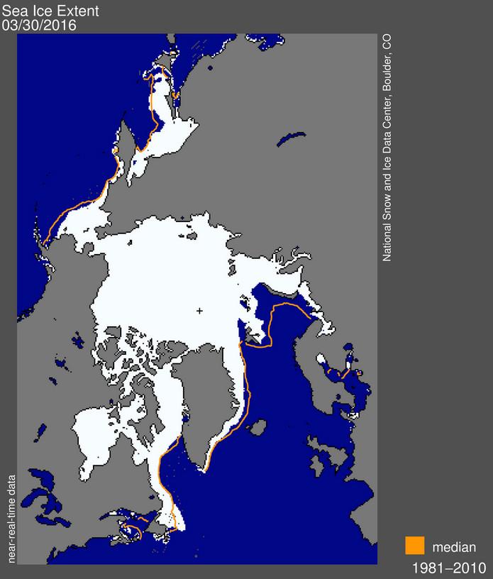 Ausdehnung des Arktiseises am 30.03.2016. Die orange Linie markiert den Verlauf der durchschnittlichen Eisgrenze zu dieser Jahreszeit während der Klimanormperiode 1981-2010