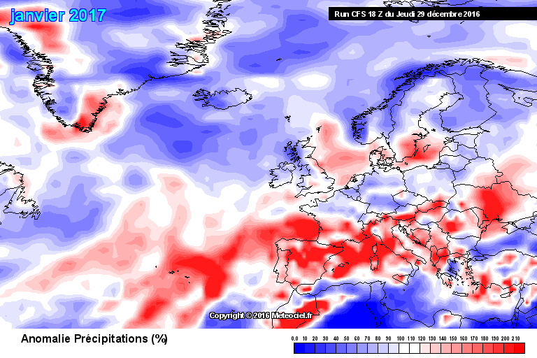 Prognostizierte Abweichung des Monatsniederschlags gegenüber der Klimanorm 1981-2010 (rot = nasser, blau = trockener als normal) Prognostizierte Abweichung der Monatsmitteltemperatur gegenüber der Klimanorm 1981-2010