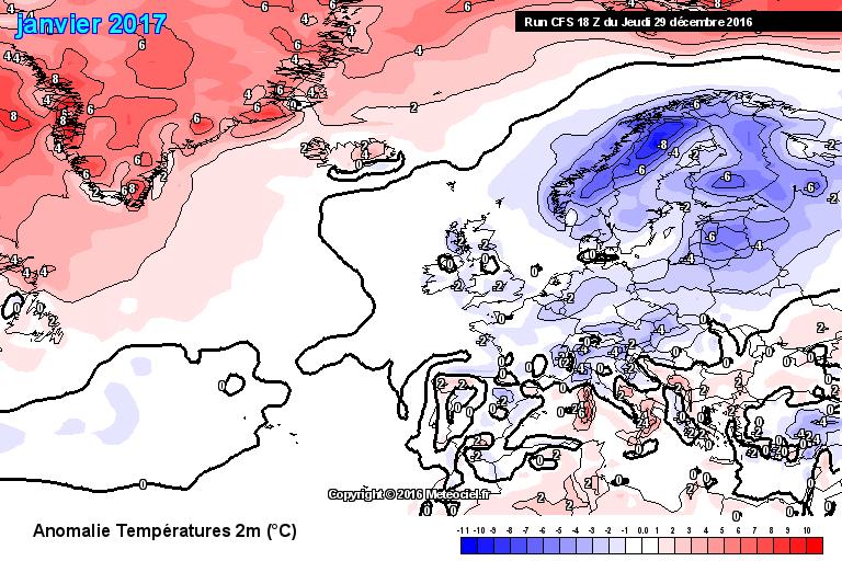 Prognostizierte Abweichung der Monatsmitteltemperatur gegenüber der Klimanorm 1981-2010